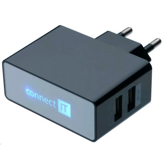 CONNECT IT USB nabíječka POWER CHARGER se dvěma USB porty 2,1A/1A, černá