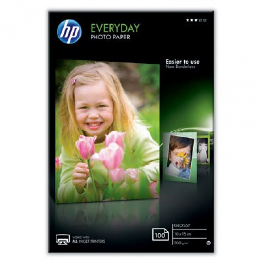 HP Everyday Glossy Photo Paper-100 sht/10 x 15 cm, 200 g/m2, CR757A