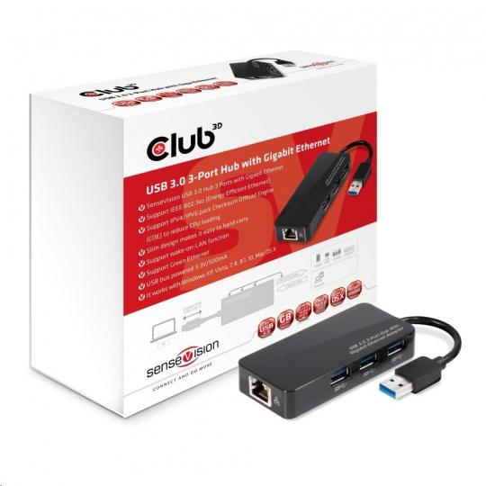Club3D hub USB typ A 3.0 na 3x USB 3.0/Ethernet)