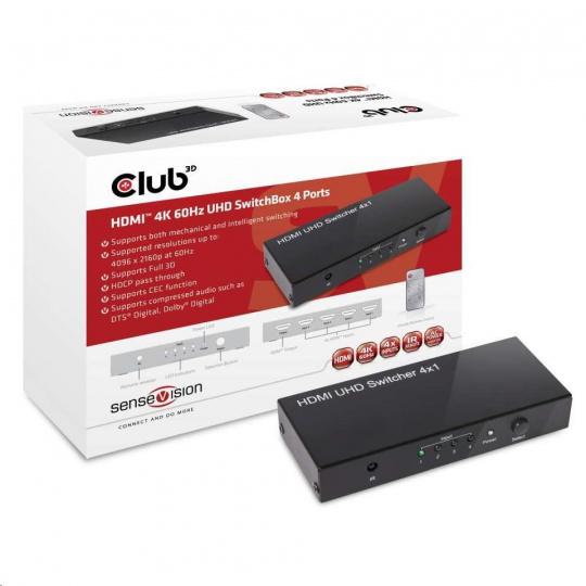 Club3D Video switch 4:1 HDMI 2.0 4K60Hz UHD