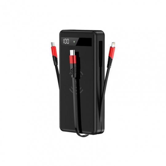 Bezdrátová Power Banka 4v1 Lightning + Micro USB + Type-C PD červená/černá