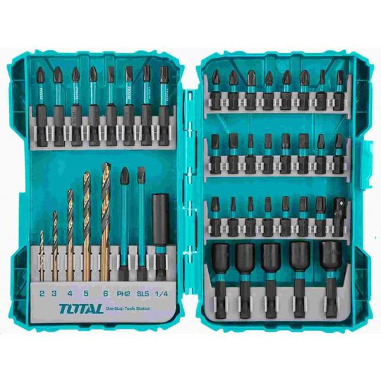 Total TACSDL24502 Vrtáky a hroty, sada 45ks, industrial