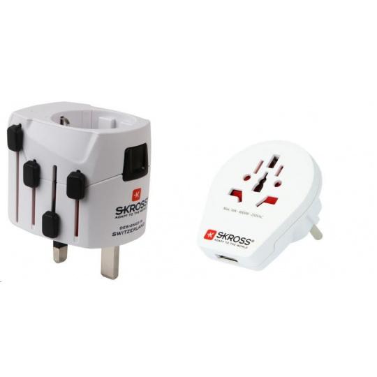 SKROSS cestovní adaptér SKROSS PRO World & USB, 6,3A max., uzemněný, vč. univerzální USB nabíječky, pro celý svět